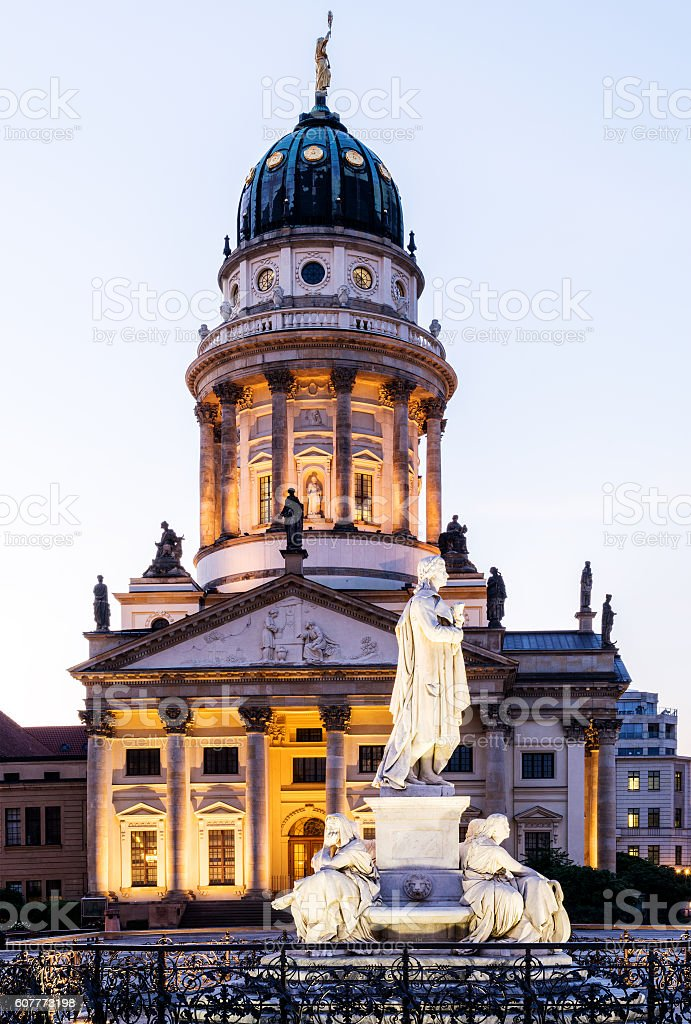 Panoramic Gendarmenmarkt square with German Cathedral stock photo