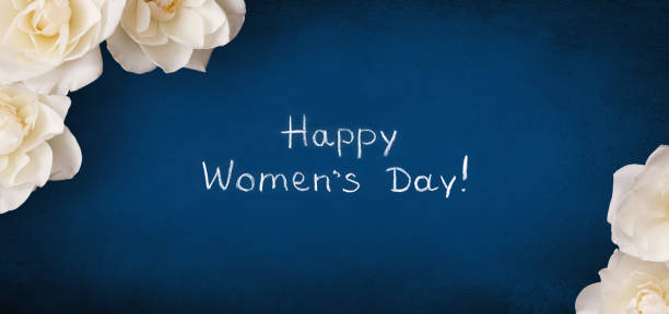panoramic greeting card 8 march happy women's day - womens day stock photos and pictures