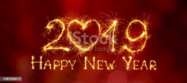 1049836902 istock photo Panoramic Greeting card Happy New Year 2019 1082505012