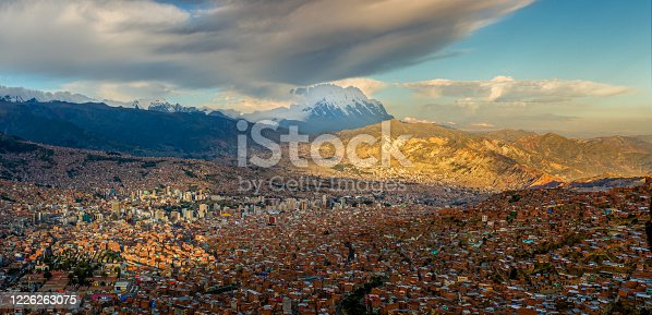 Panoramic HDR photo of the city of La Paz, Bolivia, during sunset with Illimani Mountain rising in the background