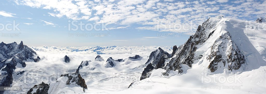 Panoramic high mountains climb landscape stock photo