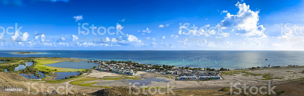Panoramic high view of a Caribbean island town in Venezuela royalty-free stock photo