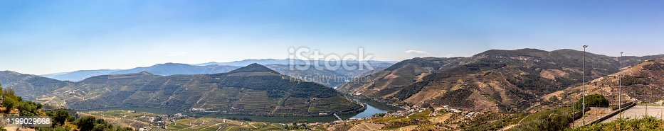 Panoramic high view from top of mountains of vineyards at Douro river valley, Portugal