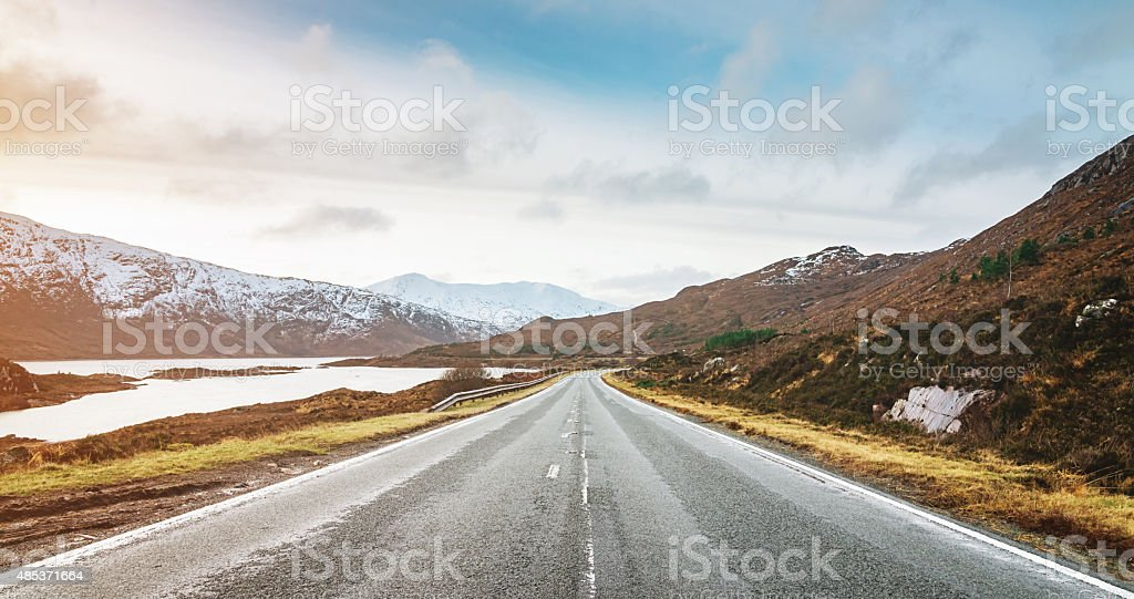 Panoramic Highway to Isle of Skye, Highlands Scotland stock photo