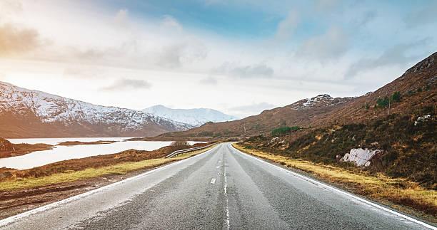 Panoramic Highway to Isle of Skye, Highlands Scotland stock photo