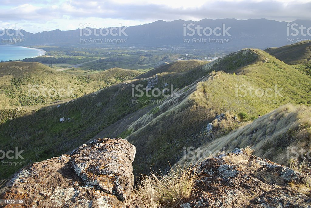 Panoramic hiking trail in Oahu, Hawaii royalty-free stock photo