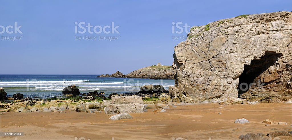 Panoramic hole in the cliff at Quiberon stock photo