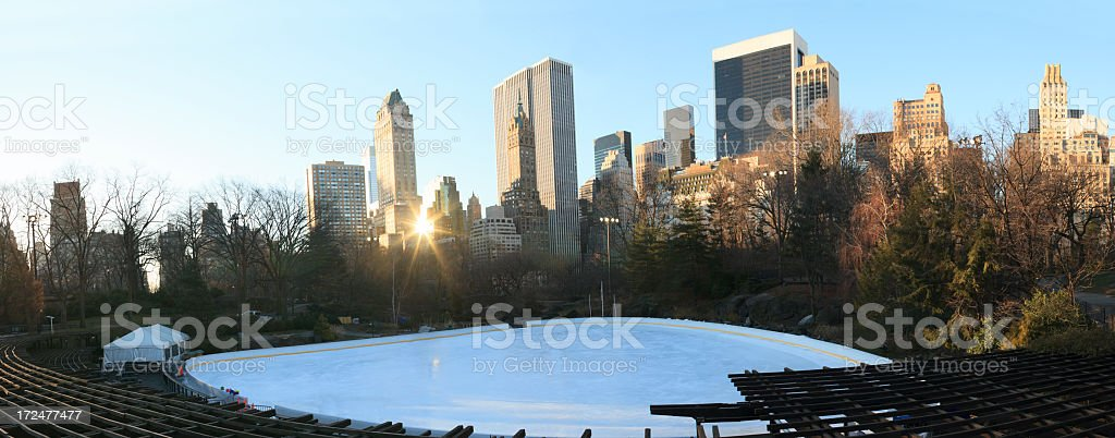 Panoramic Ice Skaters at Central Park royalty-free stock photo