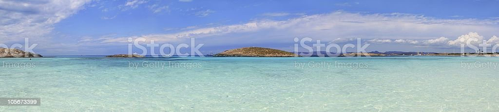 Panoramic Illetas view turquoise Formentera Balearic stock photo