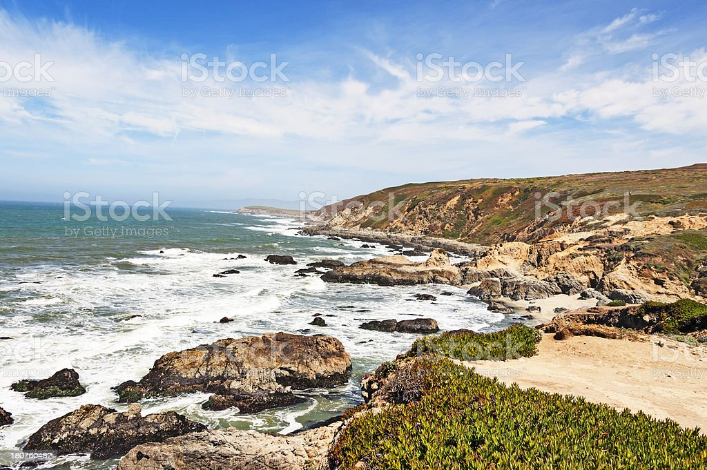 Panoramic image of a cost with the sea and some rocks royalty-free stock photo