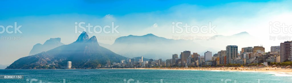 Panoramic image of Arpoador, Ipanema and Leblon beaches in Rio de Janeiro stock photo