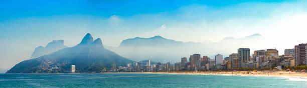 panoramic image of arpoador, ipanema and leblon beaches in rio de janeiro - rio de janeiro imagens e fotografias de stock