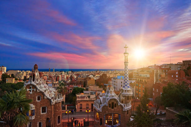 panoramic image of Barcelona stock photo