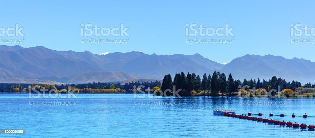 Panoramic image of beautiful scenery of Lake Pukaki , Mackenzie District, Canterbury region, South Island of New Zealand stock photo