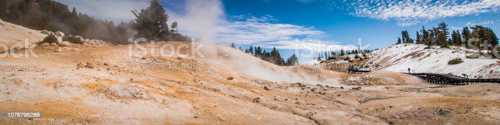 Panoramic image of Bumpass Hell in Mount Lassen Volcanic National Park stock photo
