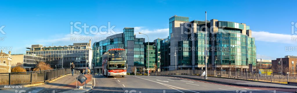 Panoramic image of Dublin Docklands with bus on the bridge stock photo