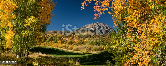 A panoramic image of Buffalo Mountain as seen from Silverthorne, Summit County, Colorado.