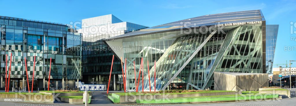 Panoramic image of Grand Canal Square in modern part of Dublin Docklands stock photo