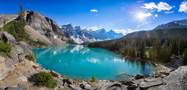 Panoramic image of Moraine Lake in Banff National Park, Alberta, Canada Panoramic image of Moraine Lake in Banff National Park, Alberta, Canada moraine lake stock pictures, royalty-free photos & images