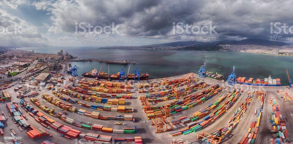 Panoramic Image of Port and Gulf of Izmir stock photo