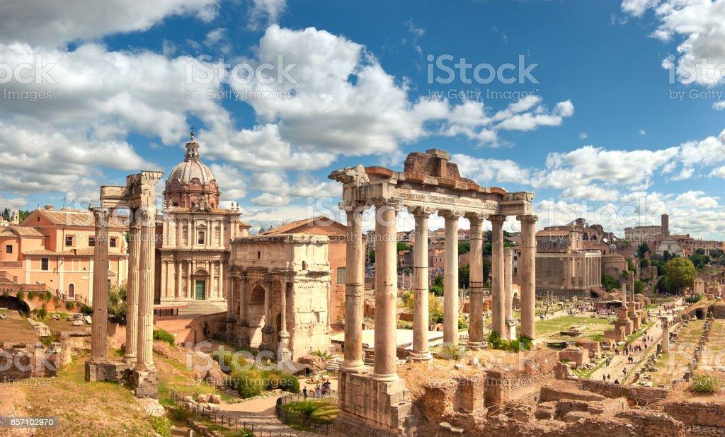 Panoramic image of Roman Forum in Rome, Italy stock photo
