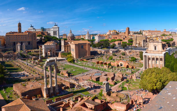 Panoramic image of Roman Forum in Rome, Italy Panoramic image of Roman Forum, also known as Foro di Cesare, or Forum of Caesar, in Rome, Italy palatine hill rome stock pictures, royalty-free photos & images