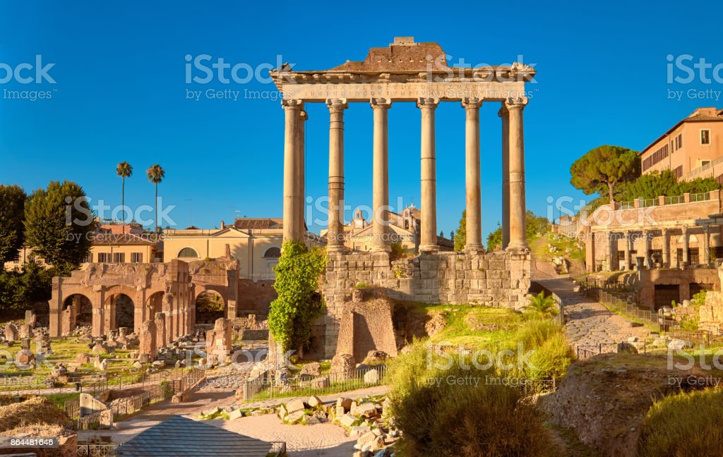 Panoramic image of Roman Forum, or Forum of Caesar, in Rome, Italy
