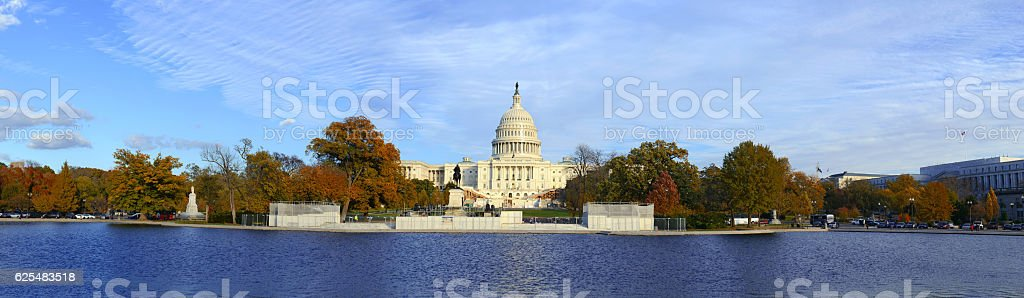 Panoramic image of The Capitol Building in Washington DC, USA stock photo