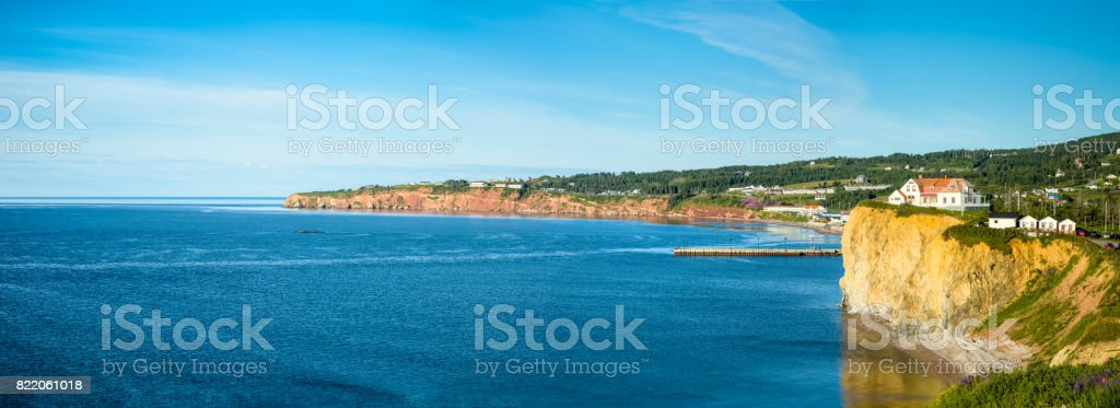 Panoramic Image of the Coast of Gaspe Peninsula at Perce, Quebec, Canada with blue waters of the Gulf of St. Lawrence stock photo
