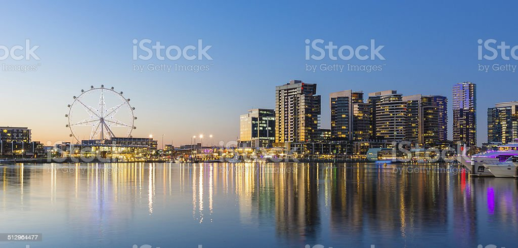Panoramic image of the docklands waterfront area in Melbourne, Australia stock photo