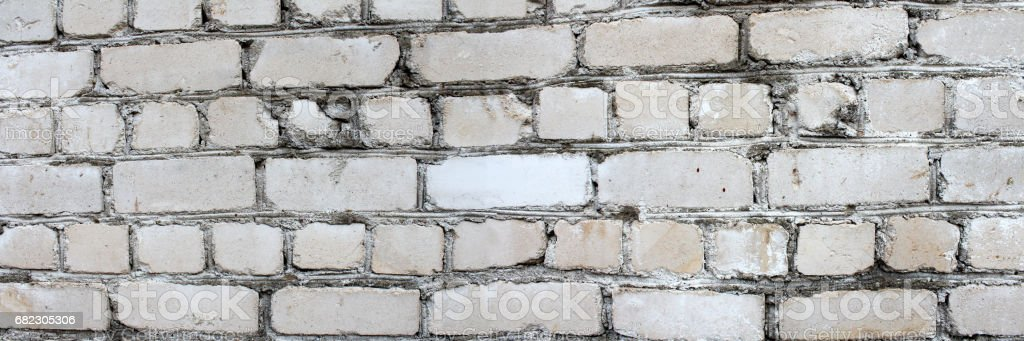 Panoramic image of white brick wall. stock photo