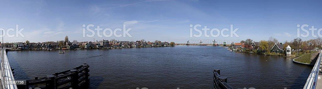 Panoramic image of Zaanse Schans royalty-free stock photo