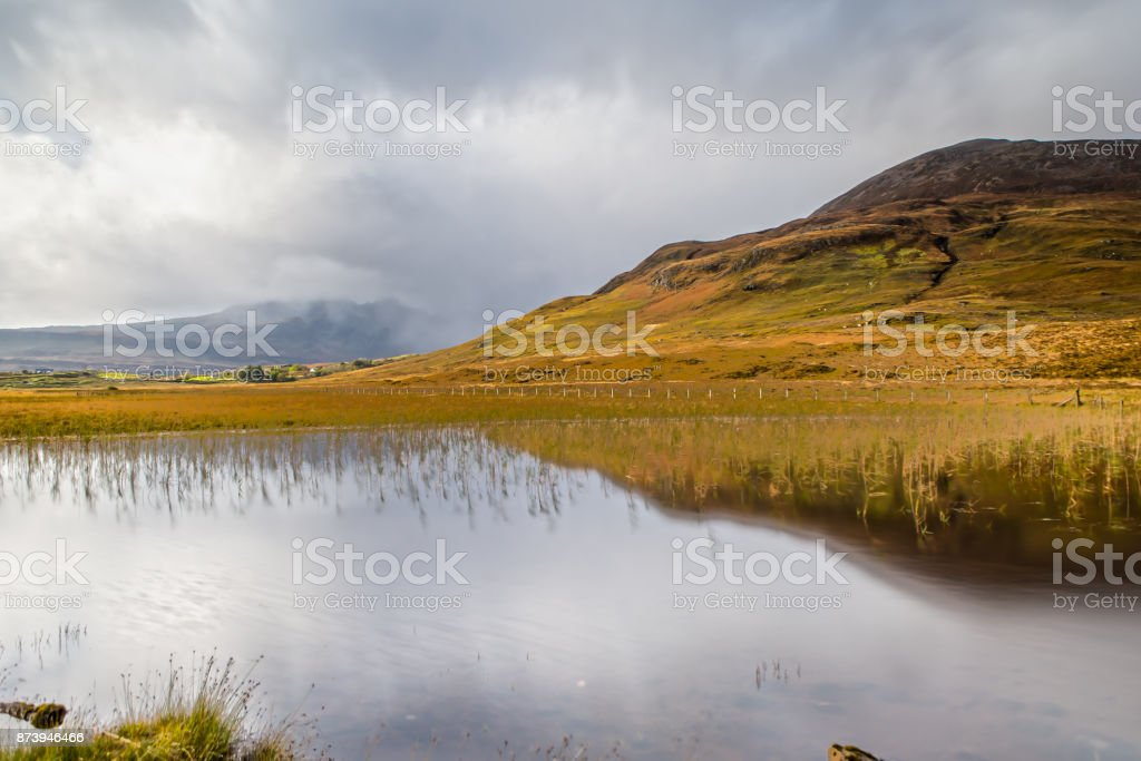 Panoramic Impression of the Isle of Skye in Scotland stock photo