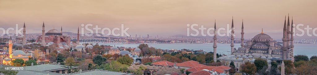 Panoramic Istanbul Mosques stock photo