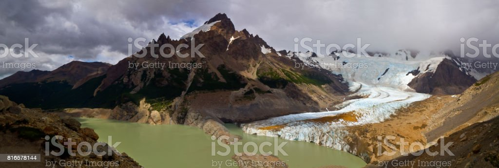 Panoramic Lago Torre in Glaciers National Park in Argentina showing glacier and morraines, Patagonia, South America stock photo