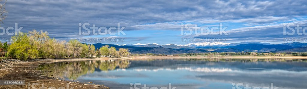Panoramic Lake front view of Colorado Front Range stock photo