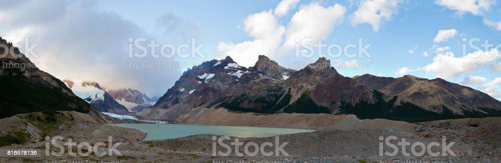 Panoramic lake Lago Torre in Glaciers National Park in Argentina, Patagonia, South America stock photo