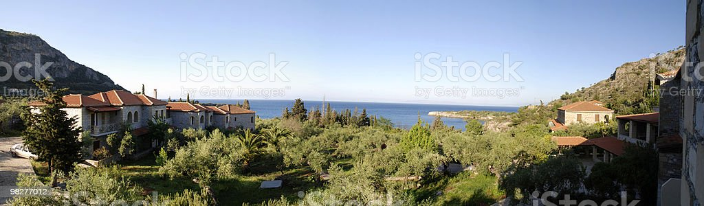 Panoramic landscape from Peloponnese, Kardamyli, Greece royalty-free stock photo