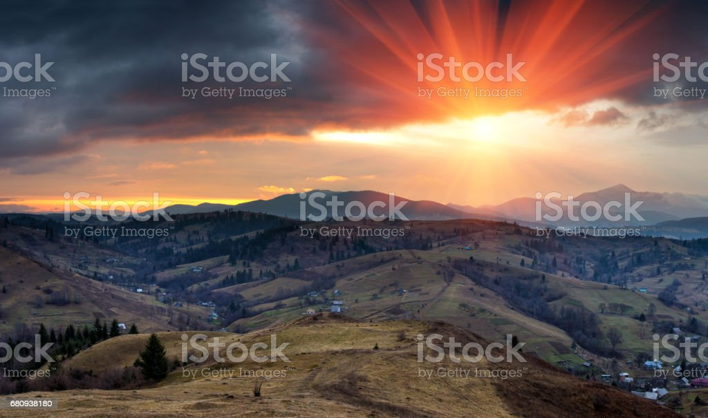 Panoramic landscape in the mountains at sunrise. royalty-free stock photo