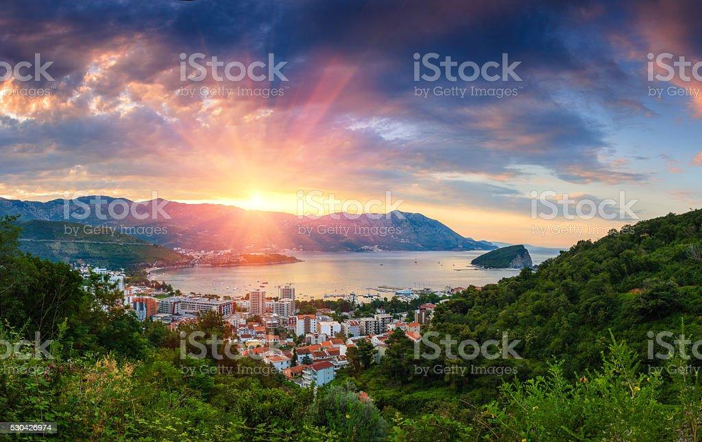 Panorama-Landschaft in Montenegro riviera von Budva. – Foto