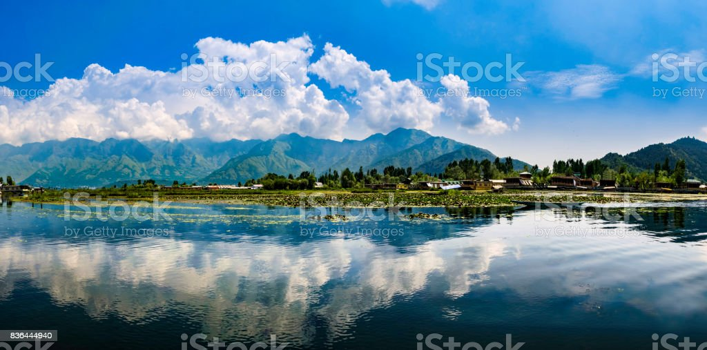 Panoramic landscape of Dal Lake, Srinagar, India stock photo