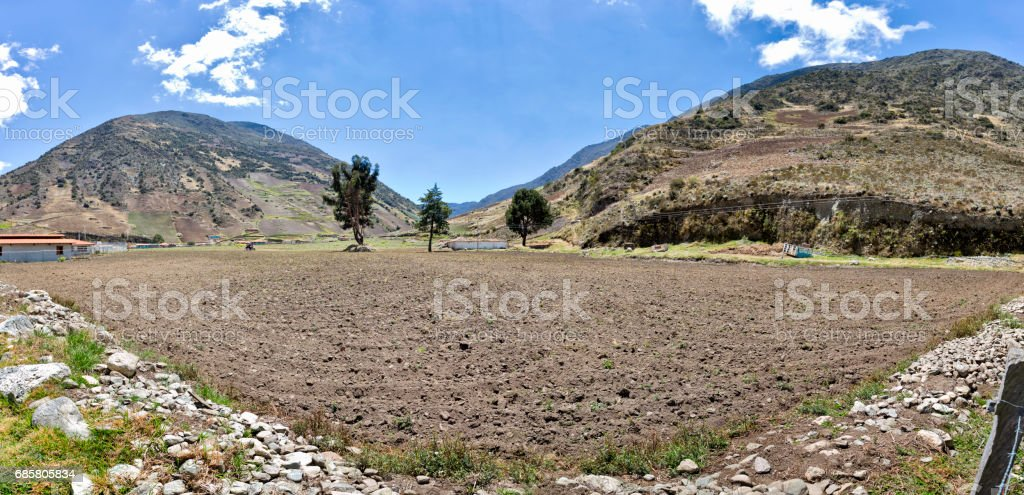 Panoramic landscape of Gavidia agricultural valley. Merida state, Venezuela stock photo