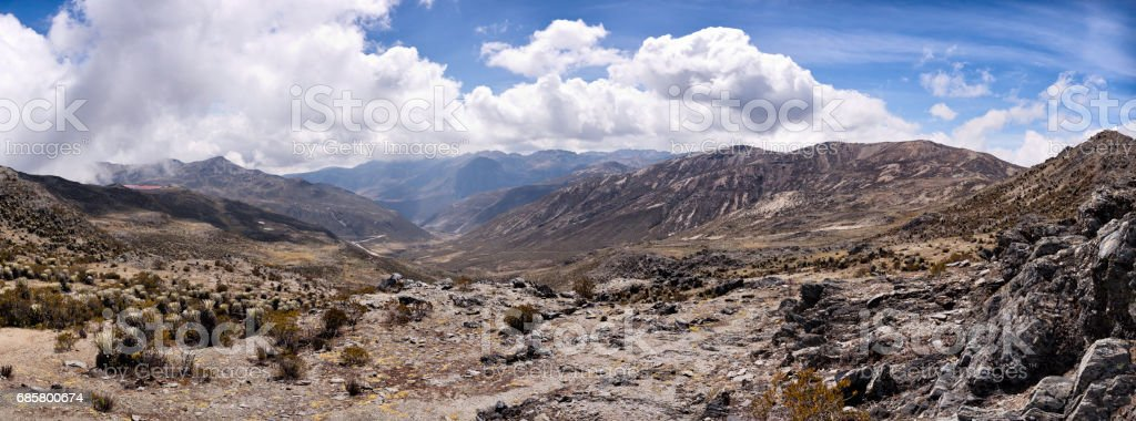 Panoramic landscape of moutain range with Frailejons seen from Pico El Aguila. Merida, Venezuela stock photo