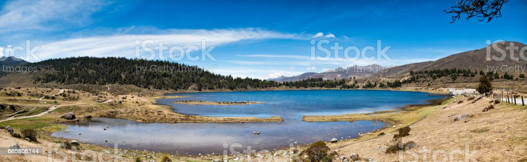 Panoramic landscape of Mucubaji lagoon with Frailejons, Merida state, Venezuela stock photo