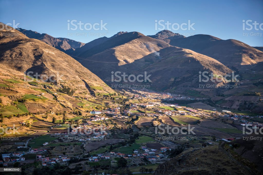 Panoramic landscape of Mucuchies valley early in the morning. Merida state, Venezuela stock photo