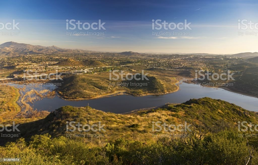 Panoramic Landscape of San Diego County and Lake Hodges from Bernardo Mountain in Poway stock photo