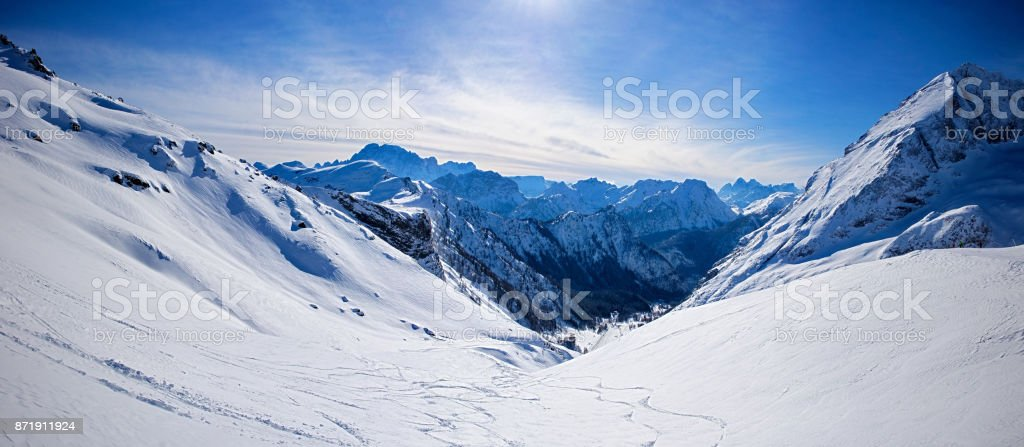 panoramic landscape of snowy dolomites stock photo