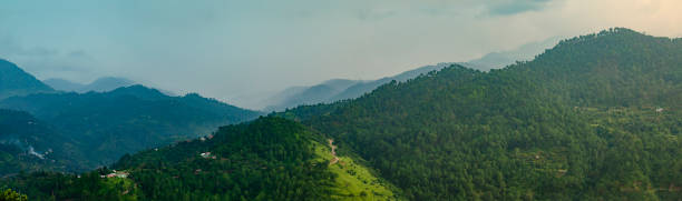 Panoramic landscape of the mountains in Himachal Pradesh. stock photo