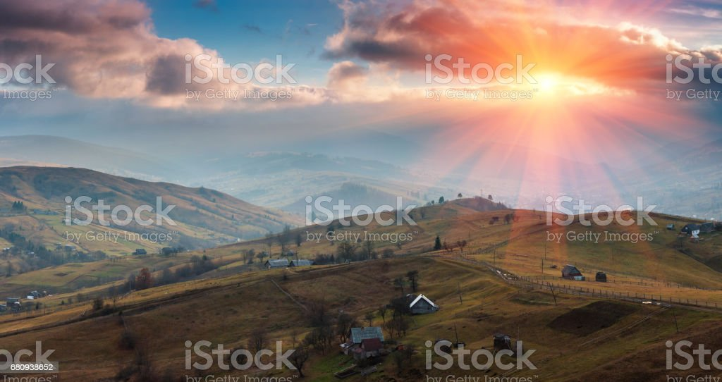 Panoramic landscape of the spring mountains at sunset. royalty-free stock photo