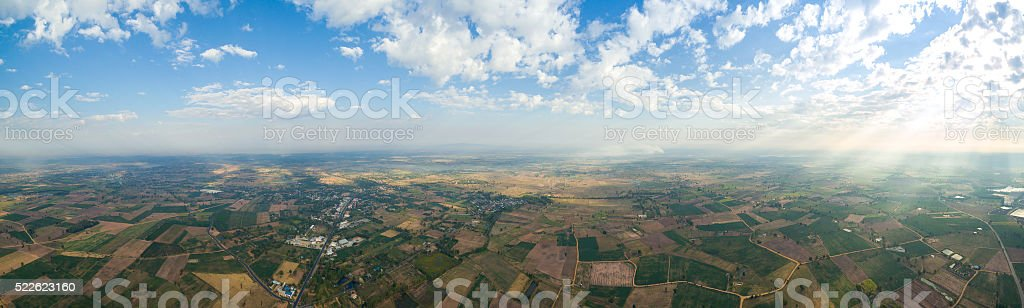 panoramic landscape  taken from 400 feet above ground stock photo